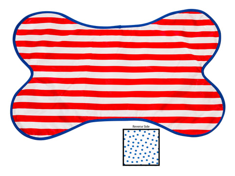 Freckled Sage Reversible Oilcloth Dog Mat in Stripe Red