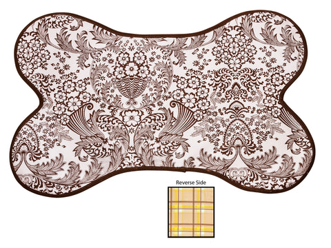Freckled Sage Reversible Oilcloth Dog Mat in Toile Brown - Plaid Swatch