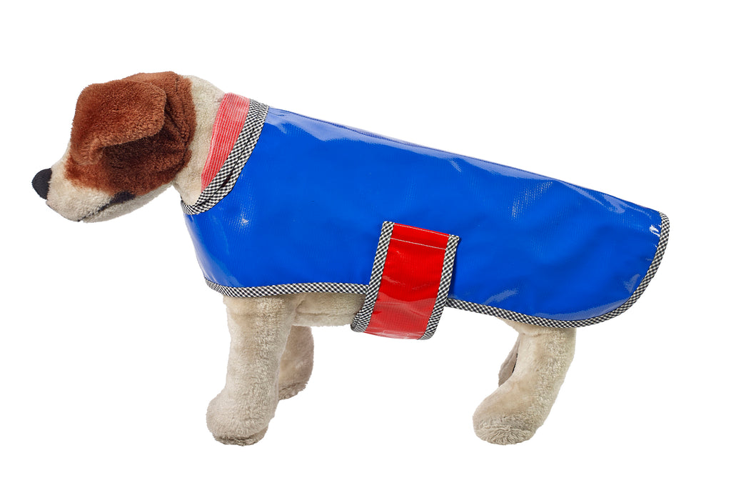 Freckled Sage Oilcloth Doggie Raincoat Solid Blue
