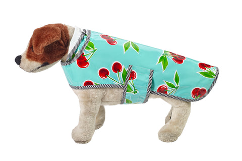 Freckled Sage Oilcloth Doggie Raincoat in Cherry Aqua