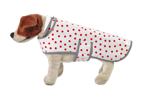 Freckled Sage Oilcloth Doggie Raincoat in Dot Red