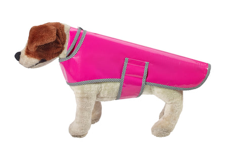 Freckled Sage Oilcloth Doggie Raincoat in Solid Fuchsia