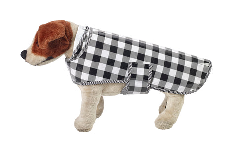 Freckled Sage Oilcloth Doggie Raincoat in Gingham Black