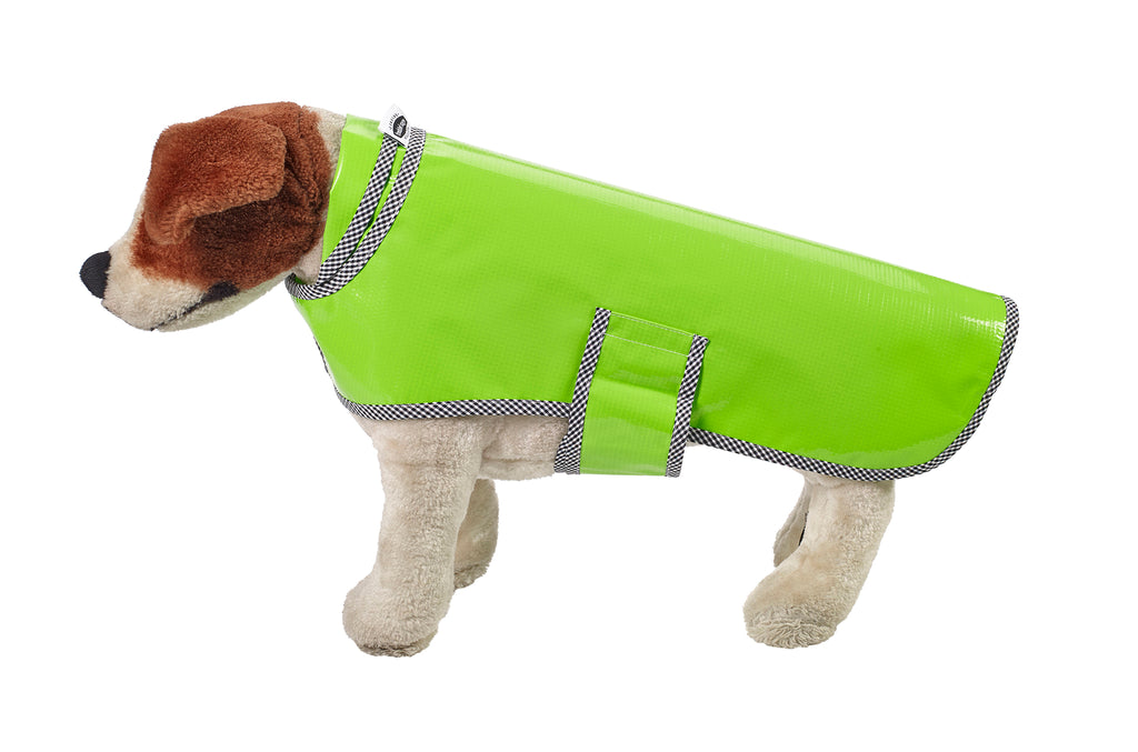 Freckled Sage Oilcloth Doggie Raincoat in Solid Lime