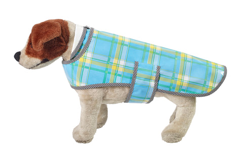 Freckled Sage Oilcloth Doggie Raincoat in Plaid Light Blue and Yellow