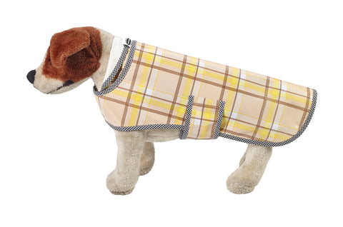 Freckled Sage Oilcloth Doggie Raincoat in Plaid Brown and Yellow