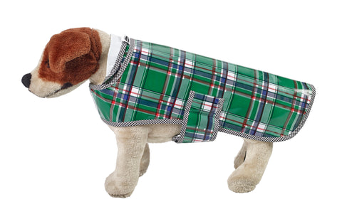 Freckled Sage Oilcloth Doggie Raincoat in Plaid Green and Blue