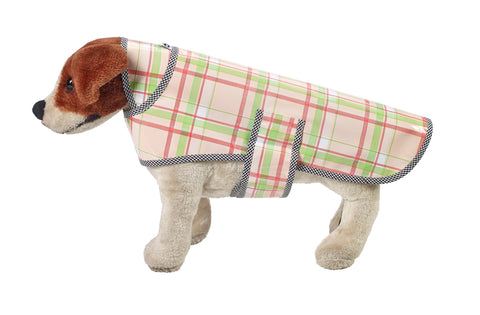 Freckled Sage Oilcloth Doggie Raincoat in Plaid Pink and Lime