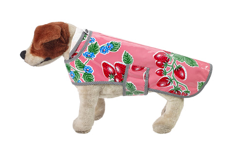 Freckled Sage Oilcloth Doggie Raincoat in Strawberry Pink