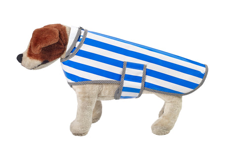 Freckled Sage Oilcloth Doggie Raincoat in Stripe Blue