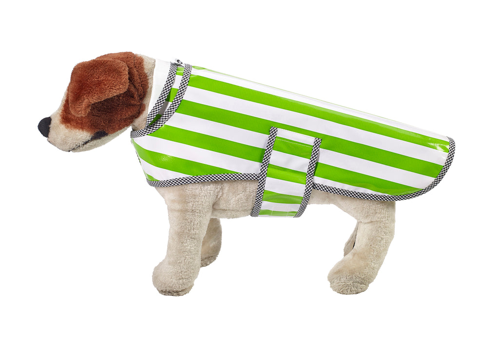 Freckled Sage Oilcloth Doggie Raincoat in Stripe Lime