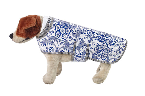 Freckled Sage Oilcloth Doggie Raincoat in Toile Navy