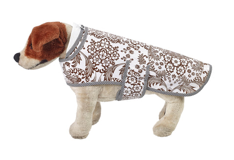 Freckled Sage Oilcloth Doggie Raincoat in Toile Brown