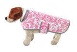 Freckled Sage Oilcloth Doggie Raincoat in Toile Pink