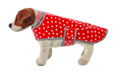 Freckled Sage Oilcloth Doggie Raincoat in White Dot on Red