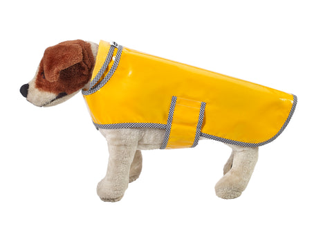 Freckled Sage Oilcloth Doggie Raincoat in Solid Yellow