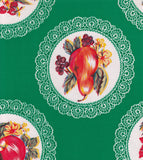 Round Oilcloth Tablecloth in Doily Green