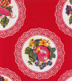 Round Oilcloth Tablecloth in Doily Red
