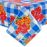 Freckled Sage Oilcloth Tablecloth Gingham and Flowers Blue
