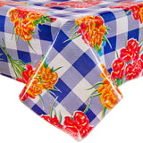 Freckled Sage Oilcloth Tablecloths Gingham and Flowers Navy