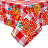 Freckled Sage Oilcloth Tablecloth Gingham and Flowers Red