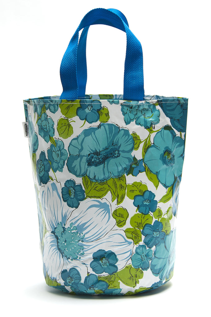 Freckled Sage Oilcloth Grocery Sak Blue