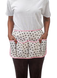 Freckled Sage Oilcloth Gardening Apron Dot Black with Pink Trim