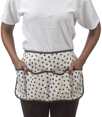 Freckled Sage Oilcloth Garden Apron Dot Black