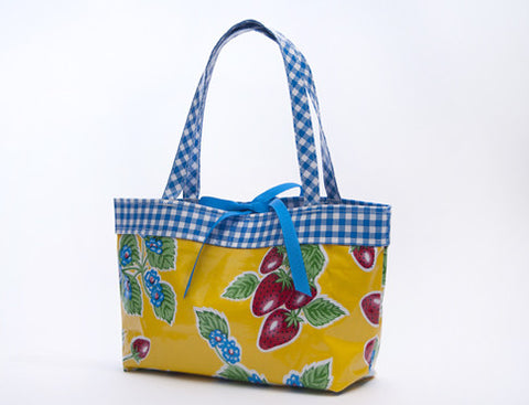 Freckled Sage Oilcloth Handbag Strawberry Yellow