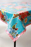 Hawaii light blue oilcloth tablecloth