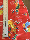 Slightly Imperfect Round Oilcloth Tablecloth in Fruit Basket Red