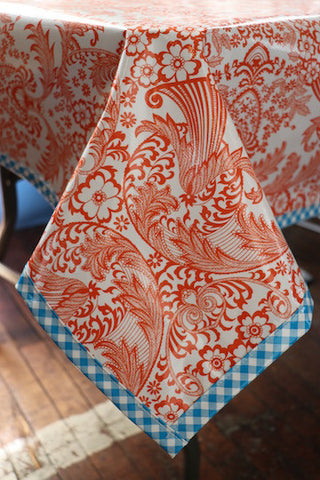 Freckled Sage Oilcloth Tablecloth Orange Toile