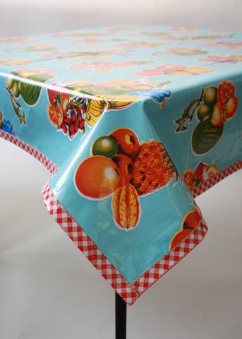 tropical mixed fruit light blue oilcloth tablecloth red gingham