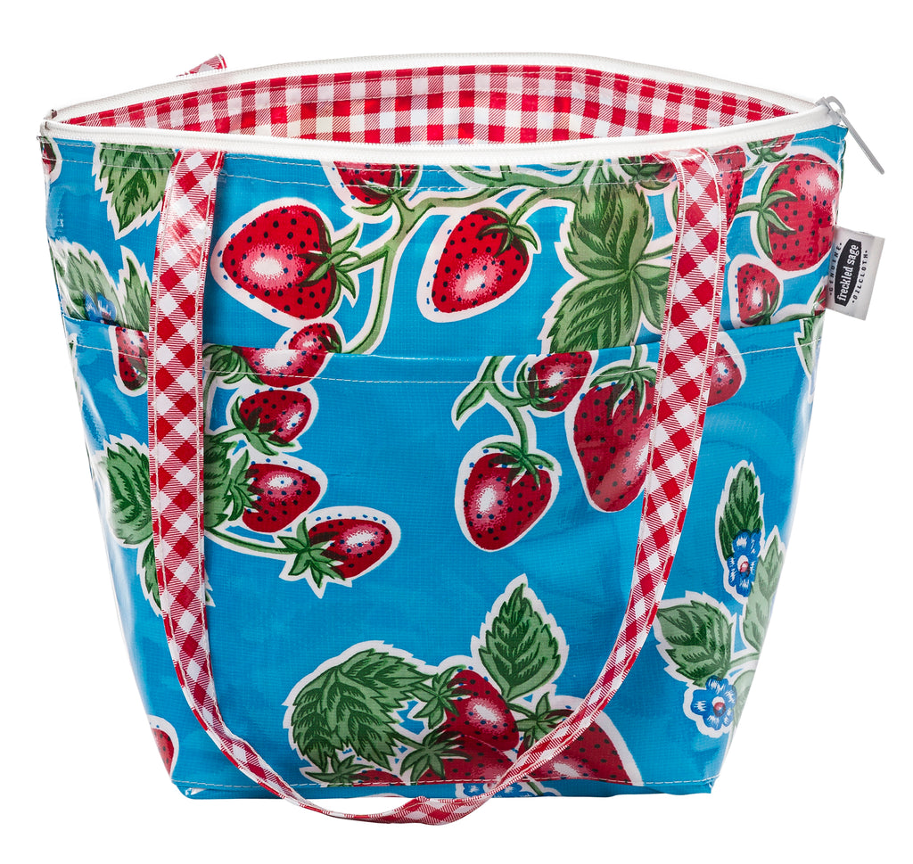 Freckled Sage Insulated Thermal Lunch Bag Strawberry Blue
