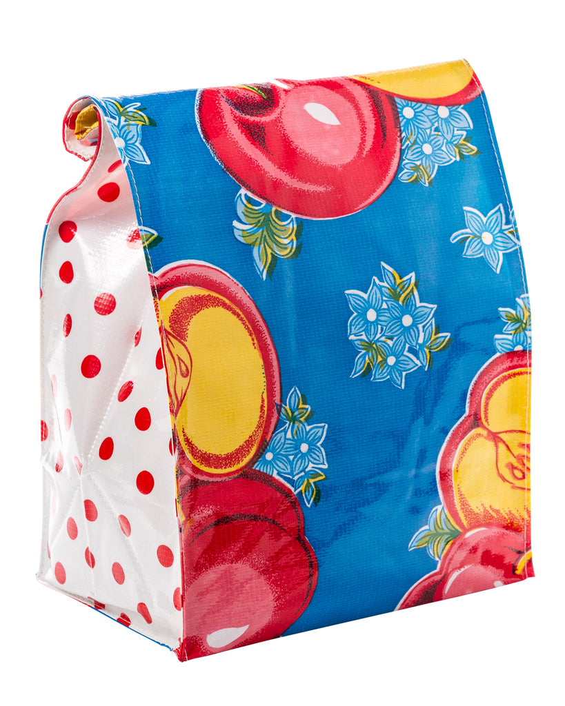 Freckled Sage Oilcloth Lunch Bag in Old Apple Blue