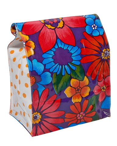 Freckled Sage Oilcloth Lunch Bag Betty's Bunch Purple