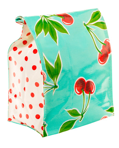 Freckled Sage Oilcloth Lunch Bag Cherry Aqua