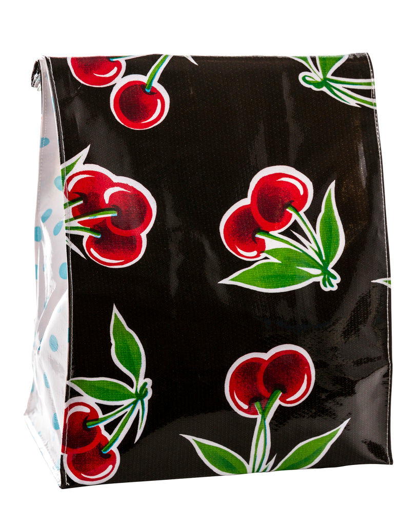 Freckled Sage Oilcloth Lunch Bag Cherry Black