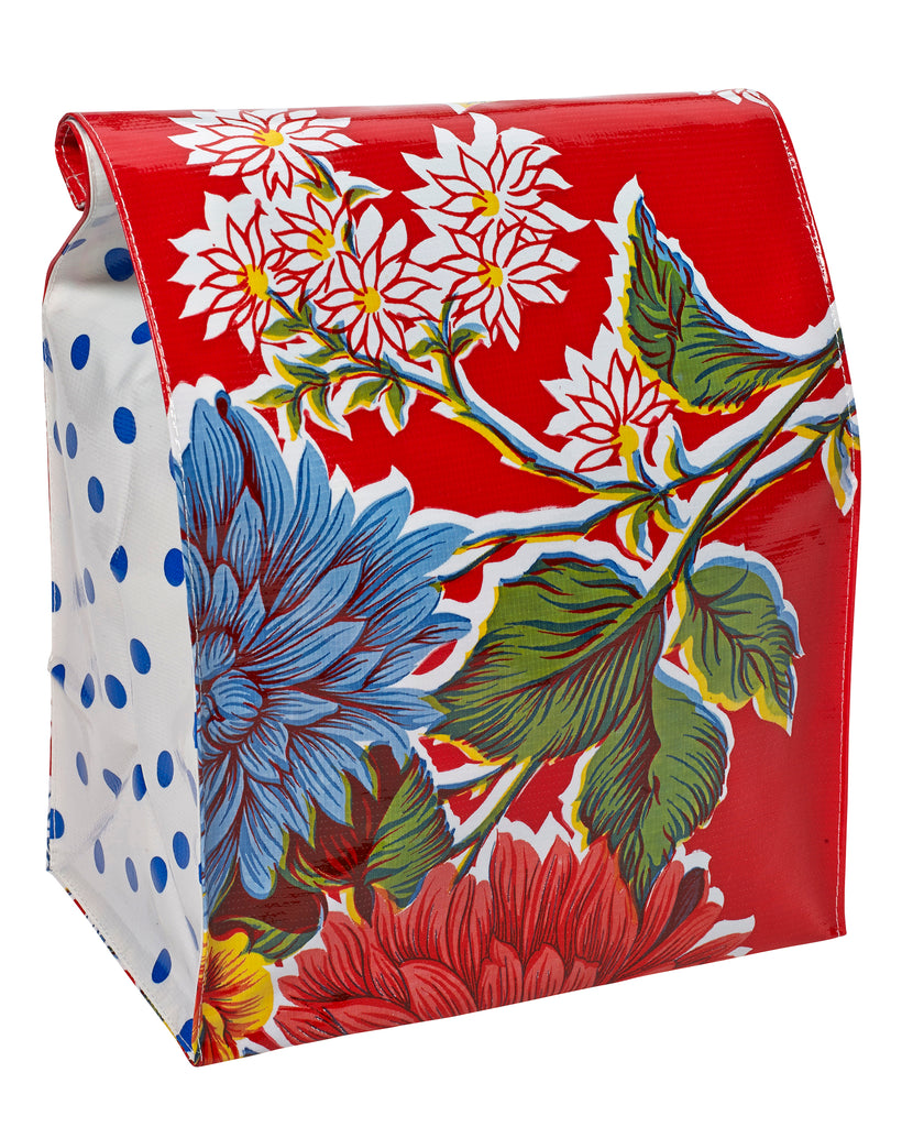 Freckled Sage Oilcloth Lunch Bag Mum Red
