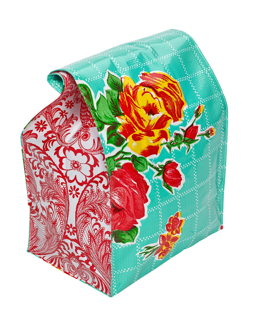 Freckled Sage Oilcloth Lunch Bag Rose and Grid Aqua