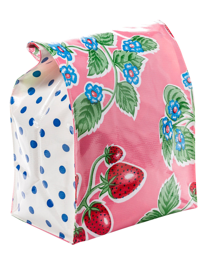 Freckled Sage Oilcloth Lunch Bag Strawberry Pink