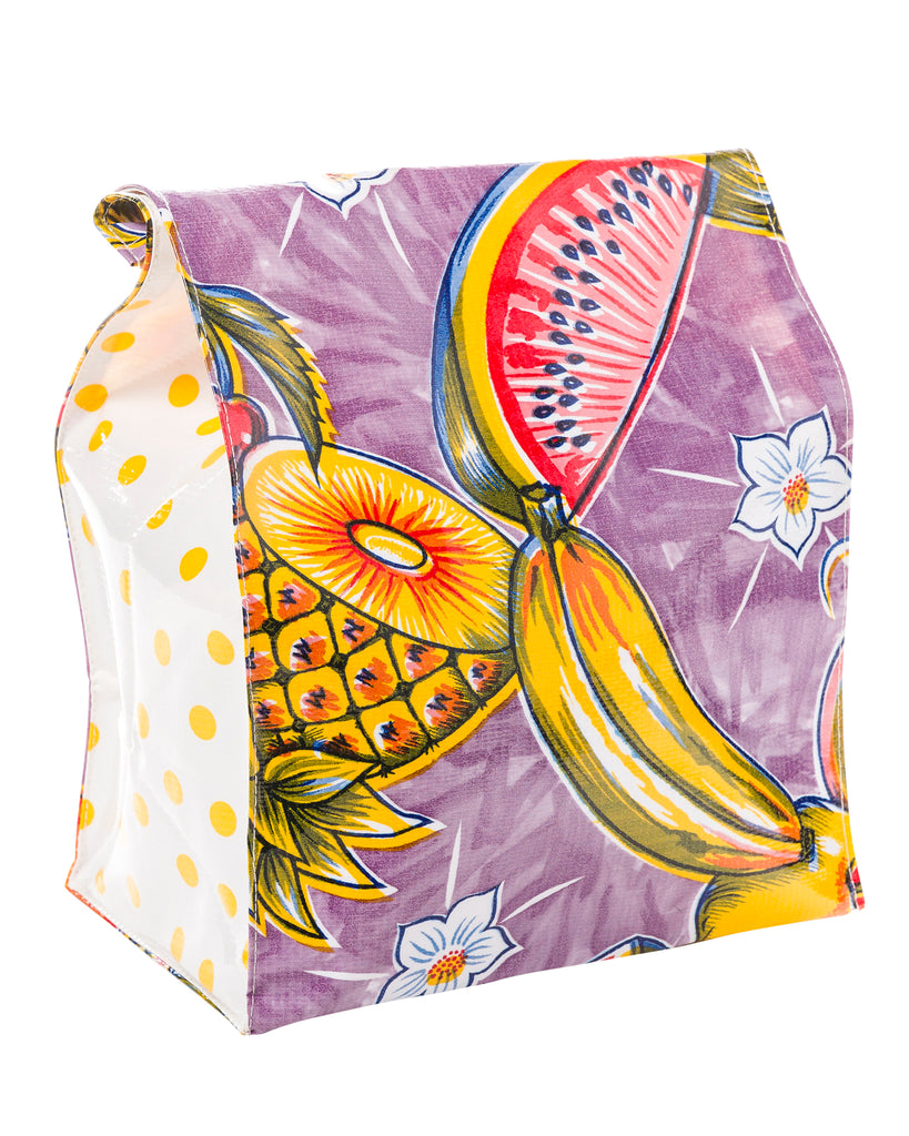 Freckled Sage Oilcloth Lunch Bag Sugarcane Purple