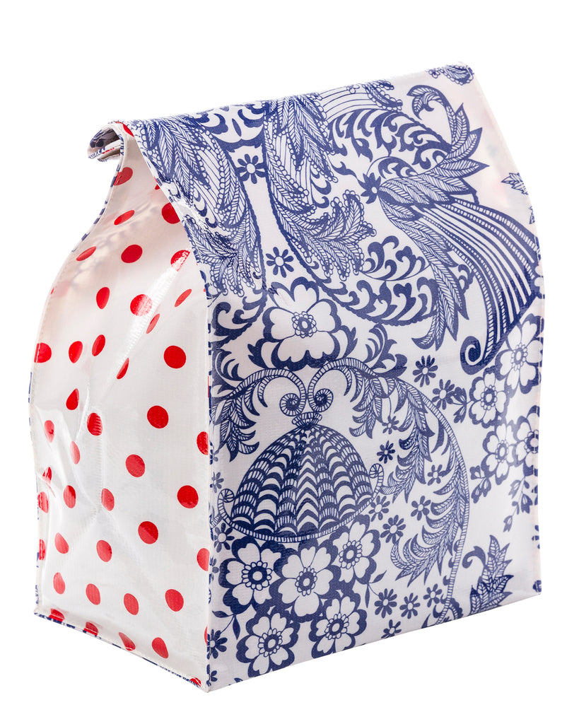 Freckled Sage Oilcloth Lunch Bag Toile Blue