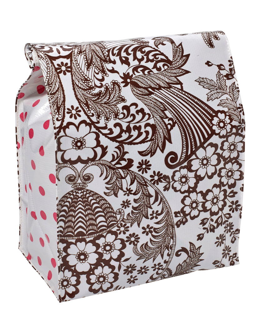 Freckled Sage Oilcloth Lunch Bag Toile Brown