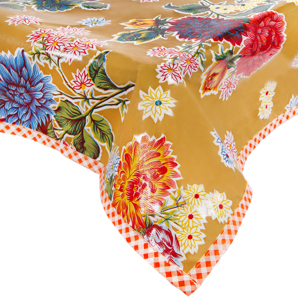 Freckled Sage Oilcloth Tablecloth Mum Tan with Orange GT