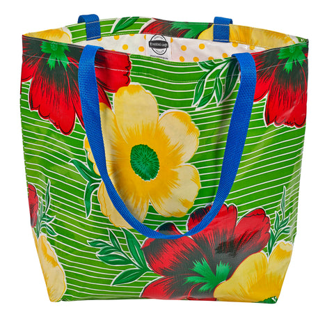 Freckled Sage Oilcloth Market Bags in Big Flower and Stripes Lime
