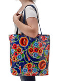 Freckled Sage Oilcloth Market Bag Bloom Navy