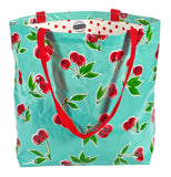 Freckled Sage Oilcloth Market Bags in Cherry Aqua
