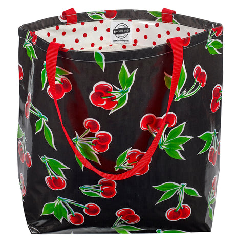 Freckled Sage Oilcloth Market Bags Black Cherry