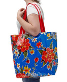 Freckled Sage Oilcloth Market Bag Blue Hawaii